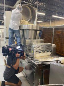 Making fresh pita bread for Aladdin's Eatery at Jasmine Bakery